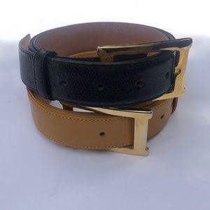 2 Saks Fifth Avenue Genuine Leather Belts Size M